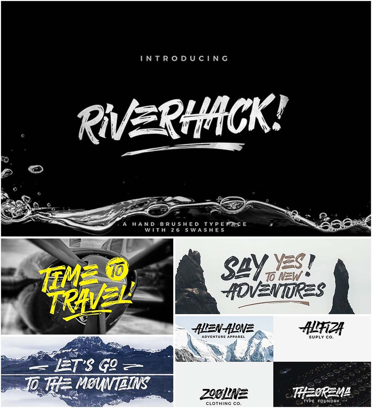 Riverhack Font With Cyrillic Typeface Brush Font Fonts