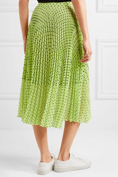 Hailey Pleated Polka-dot Georgette Midi Skirt - Lime green Markus Lupfer 2018 Newest For Sale With Mastercard Cheap Online Brand New Unisex For Sale Outlet Huge Surprise S5Jw6c6Iqk