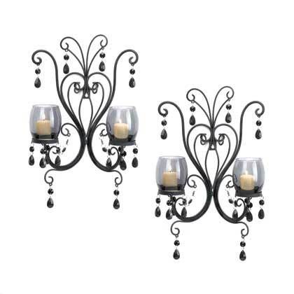 Dark And Mysterious These Candle Wall Sconces Will Turn Candlelight Into Sultry Ambiance Two Smoked Glas Wall Candles Candle Wall Sconces Wall Candle Holders