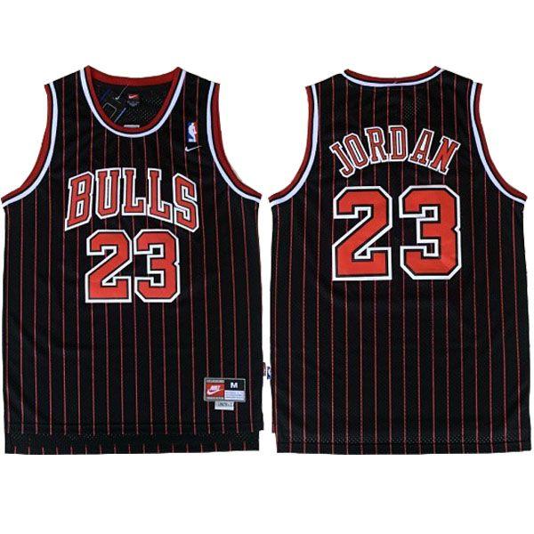 bf62a0692 Michael  Jordan 23 Stripe Black and Red  Jersey. Chicago Bulls Retro Jersey.