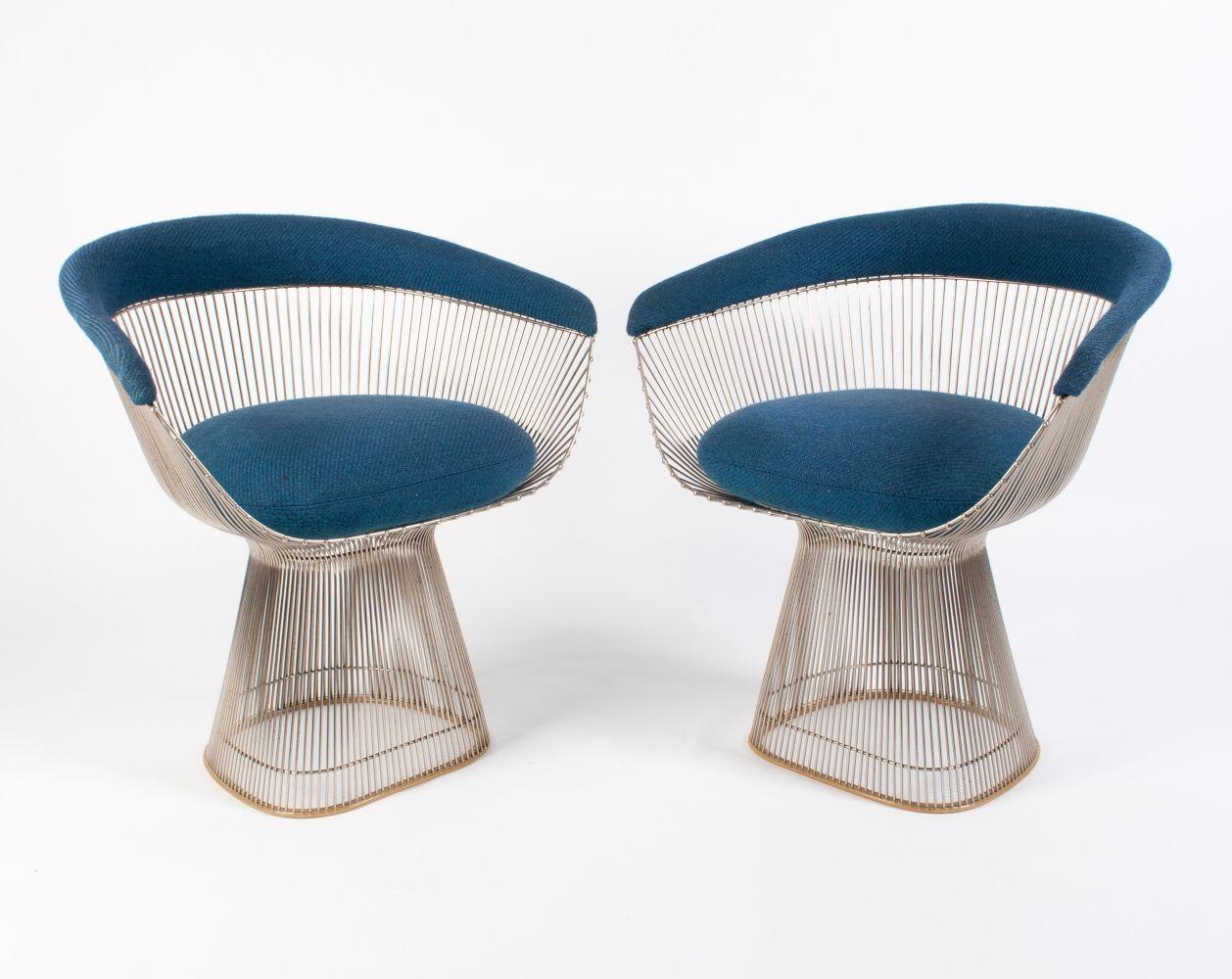 2x Vintage Warren Platner Arm Chair In Blue Wool 1960s Deco