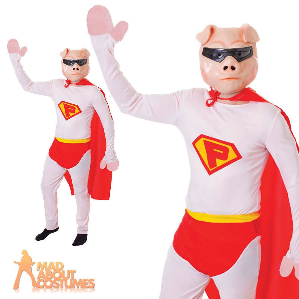 Adult Super Pig Costume Mens Novelty Funny Animal Fancy Dress Outfit New