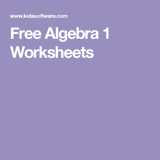 Free Algebra 1 Worksheets Education Pinterest Algebra