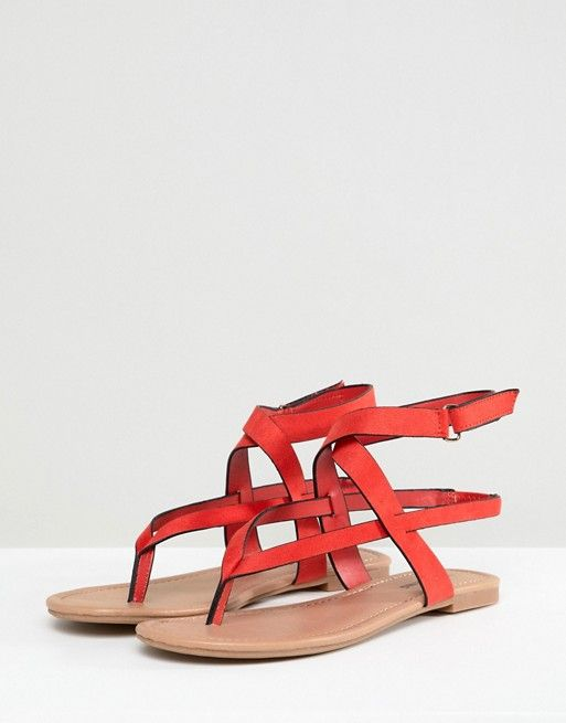 Call It Spring Red Tie Up Flat Sandals - Red Call It Spring uR3Jhqdck7