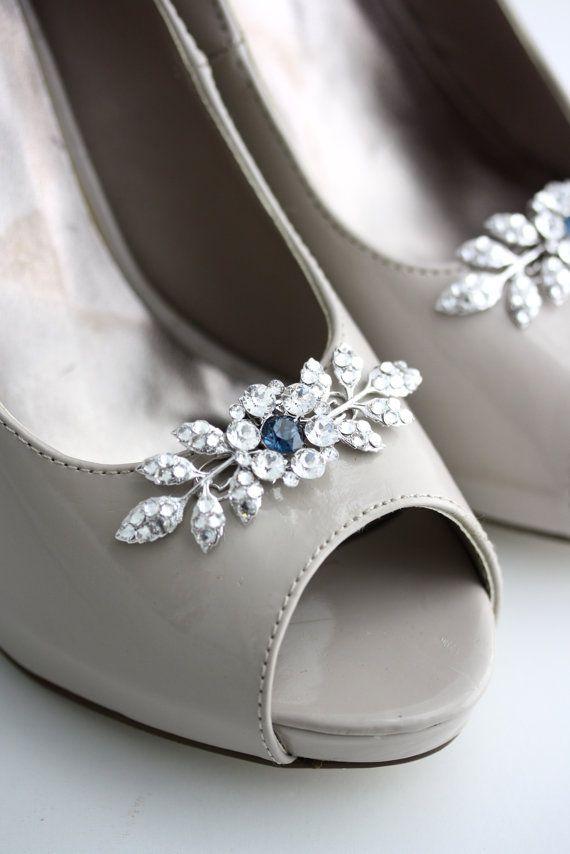 Shoe clips Wedding Shoe Clips Crystal Shoe Clips Custom Color Something Blue Bridal Shoe Clips Leaf Shoe Clips Custom Shoe Clips MACY