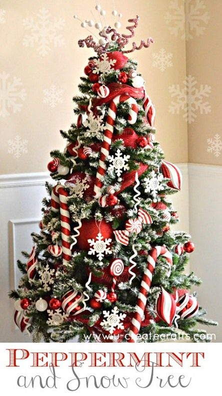 12 christmas tree decorating ideas loving this peppermint snow decorated christmas tree so pretty with all red and white colors