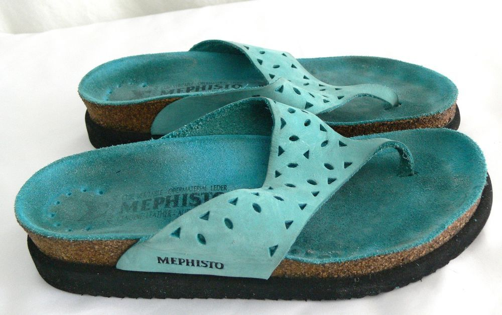 73ce192b2348 Mephisto Women Turquoise Leather Thongs Flip Flops Sandal Sz 36 6 Made In  France  Mephisto  FlipFlops  Casual