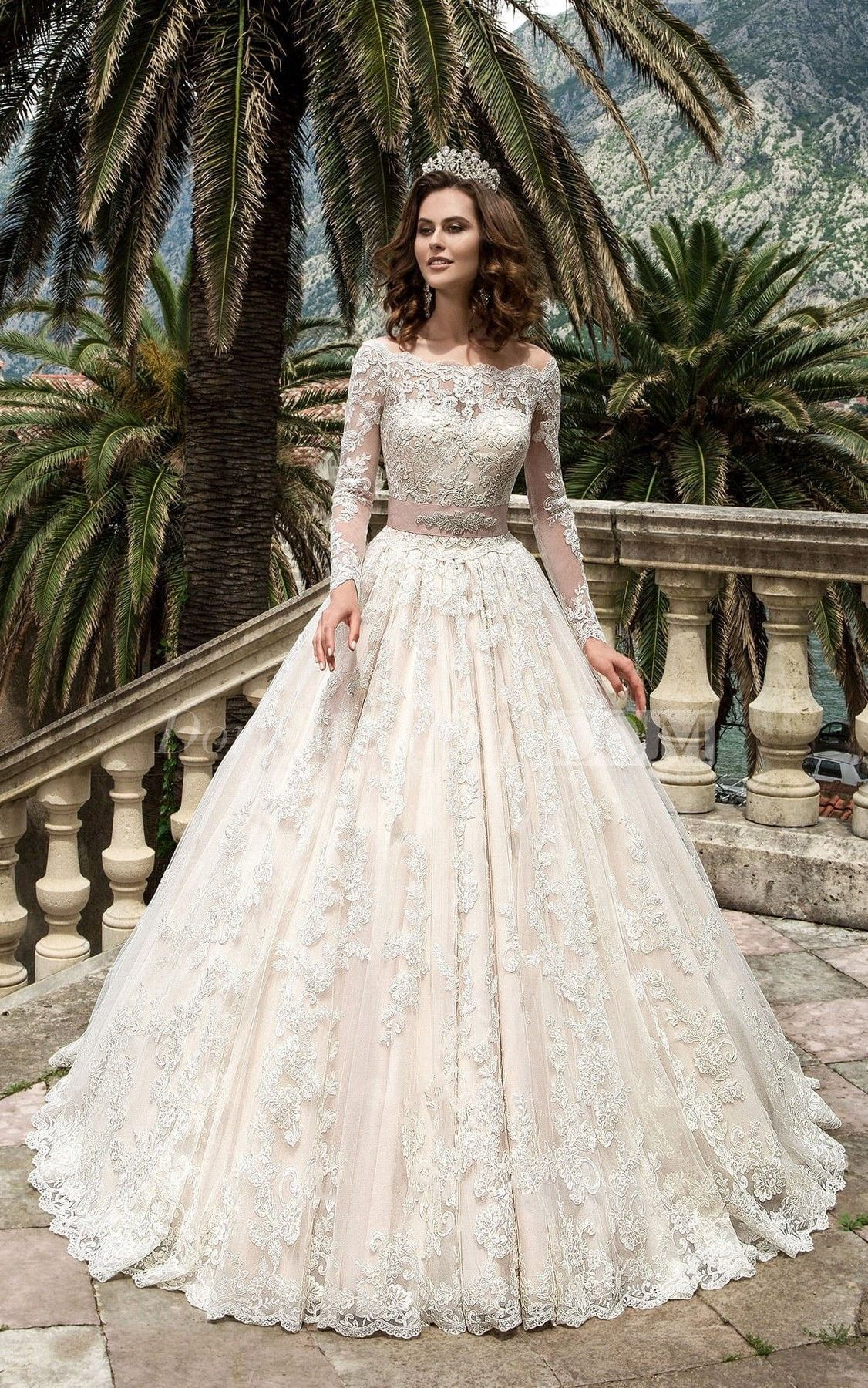 Bateau Neck Long Sleeve A Line Lace Wedding Dress With Beaded Sash Ball Gowns Wedding Long Wedding Dresses Modest Wedding Dresses