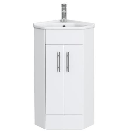 Alaska High Gloss White Corner Cabinet Vanity Unit With Ceramic Basin White Corner Cabinet Vanity Units High Gloss White