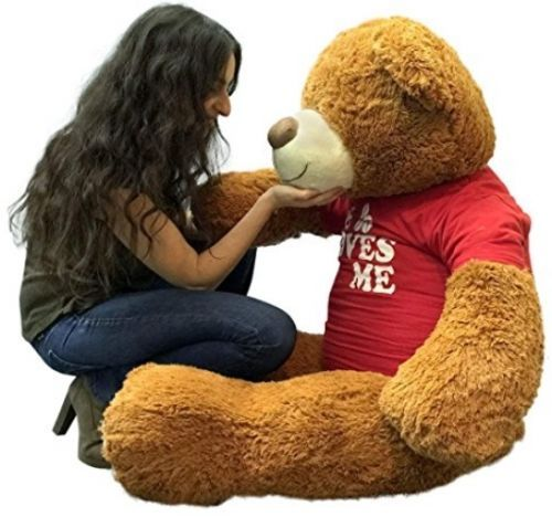 15ceed0f333  TeddyBears  Teddy  Bears Big Plush 5 Foot Giant Teddy Bear 60 Inch Soft  Brown Wears HE LOVES ME T-shirt  TeddyBears  Teddy  Bears