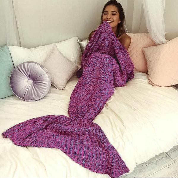 Ladies Mermaid Tail Cosy Knitted Fishtail Sofa Beach Warm Crochet Knit Blanket
