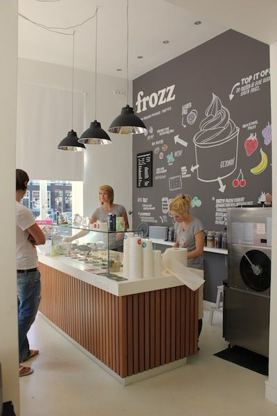 Frozz frozen yoghurt bar in Amsterdam.   Food spaces and services ...