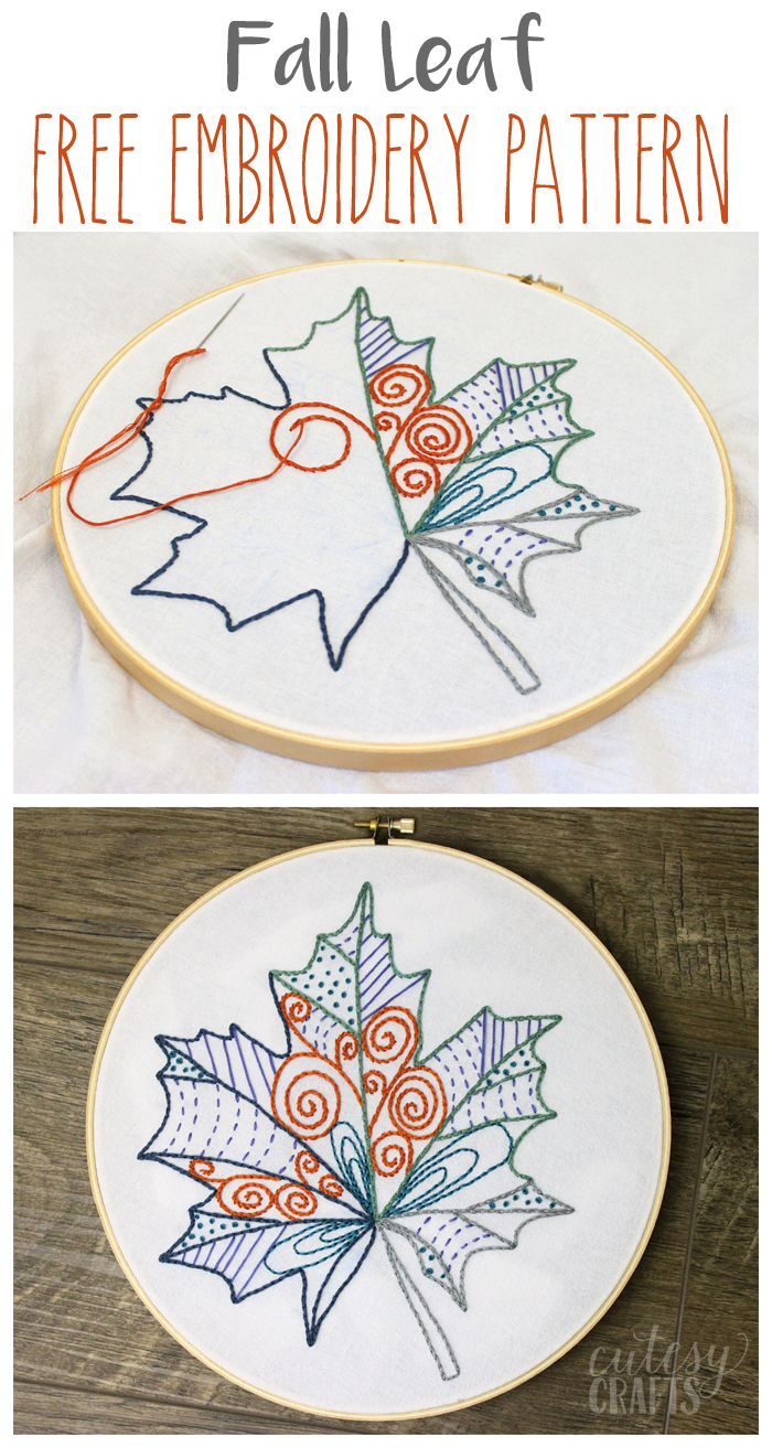 Fall leaf free embroidery pattern leaves