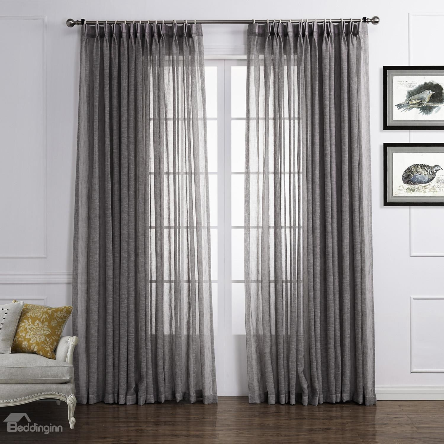 Light Gray Popular Polyester And Linen Custom Sheer Curtain Gray Sheer Curtains Sheer