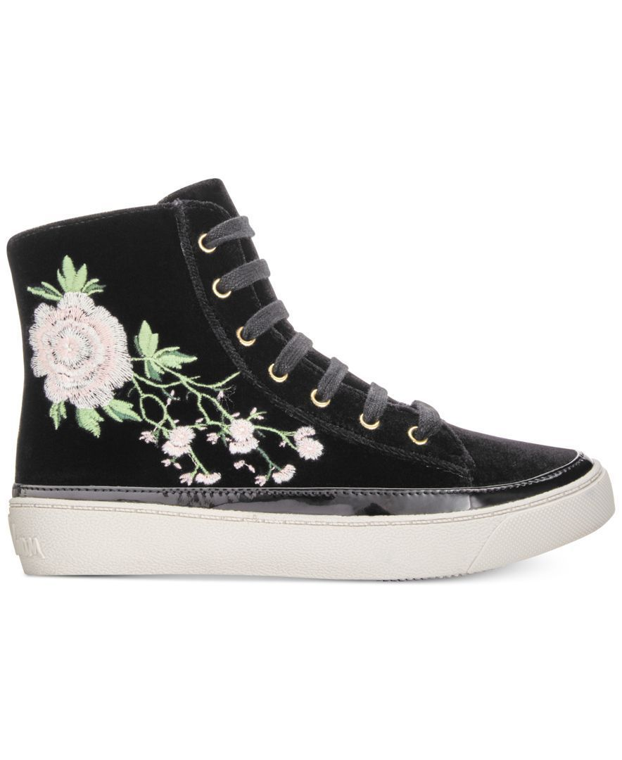 a27e5fee7a1dc2 Pretty floral embroidery sweetens the contemporary style of these velvety  zip-up sneakers from Sam