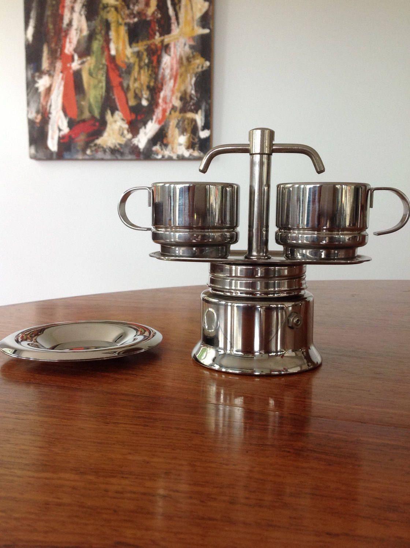Espresso coffee maker and cups Italian Inox by