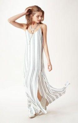 STRIPED MAXI DRESS WITH SLIT