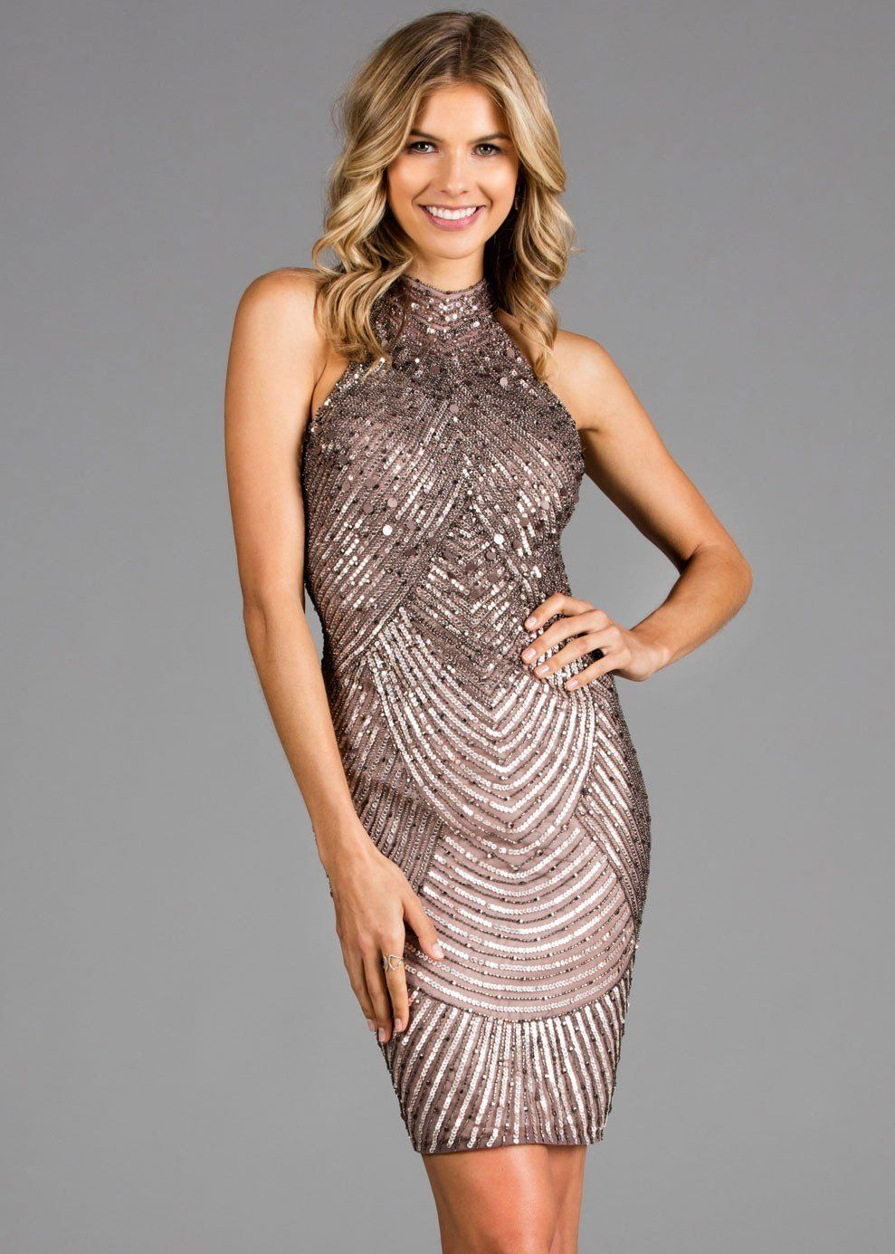 e2e66f853f4 High Neck Beaded   Sequined Cocktail Dress - Scala 48895