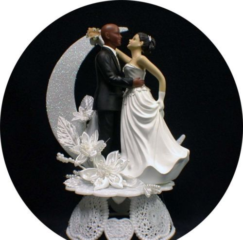 Bi Racial Bald African American Groom White Bride Brown Hair Wedding Cake Topper