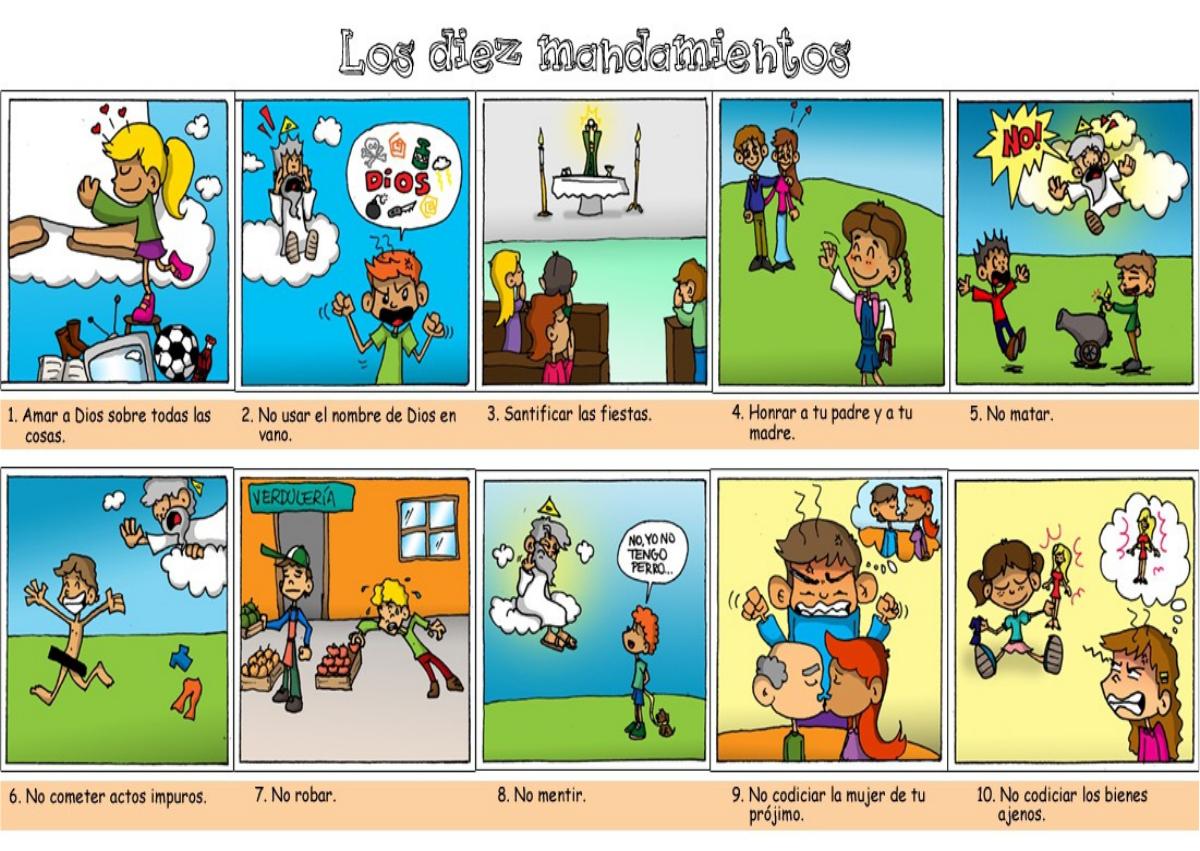 Los 10 Mandamientos Para Ninos Imagen A Color 10 Mandamientos Para Ninos Los 10 Mandamientos Cristianos Ninos Catolicos