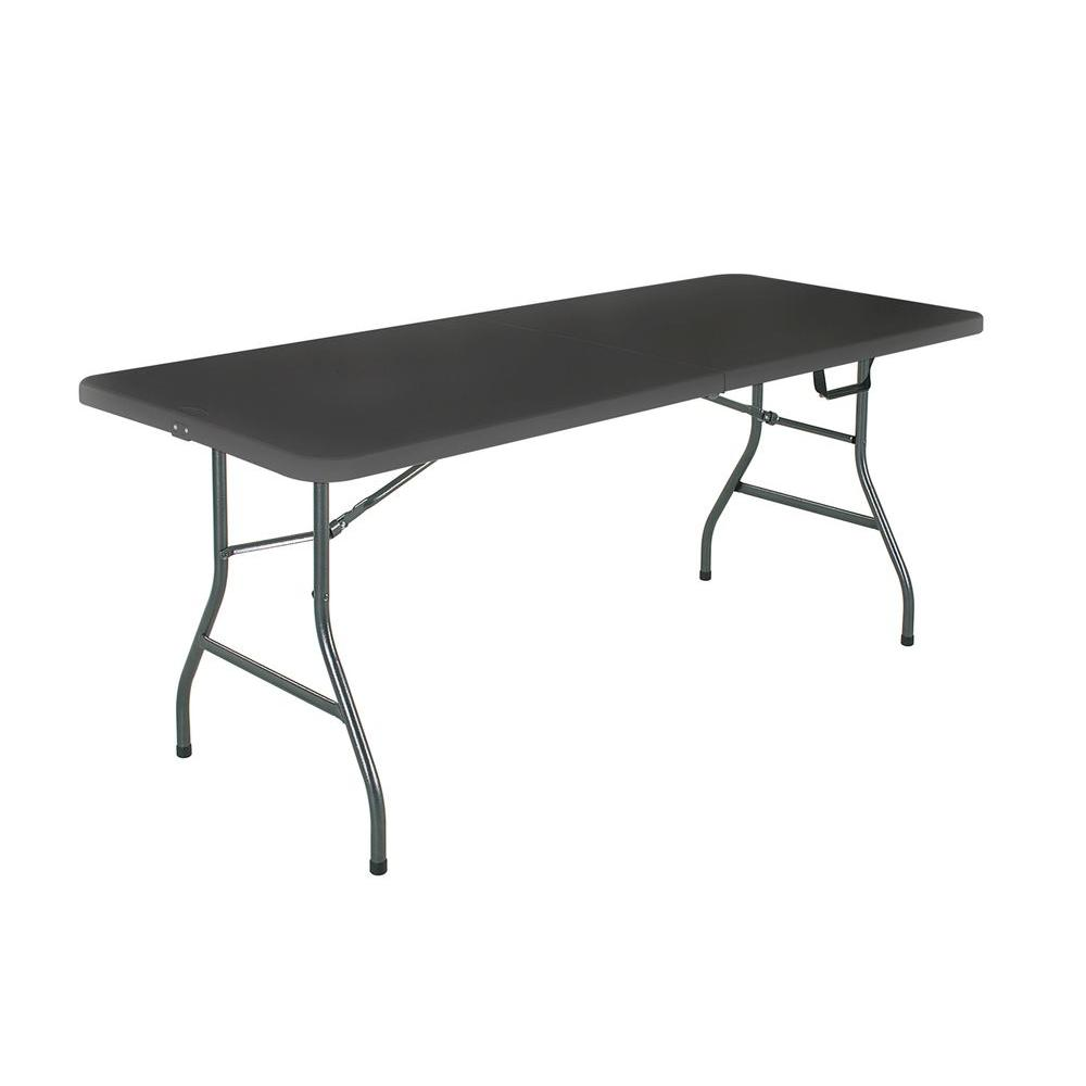 COSCO Deluxe 8 Foot x 30 inch Fold-in-Half Blow Molded Folding Table 1 Black