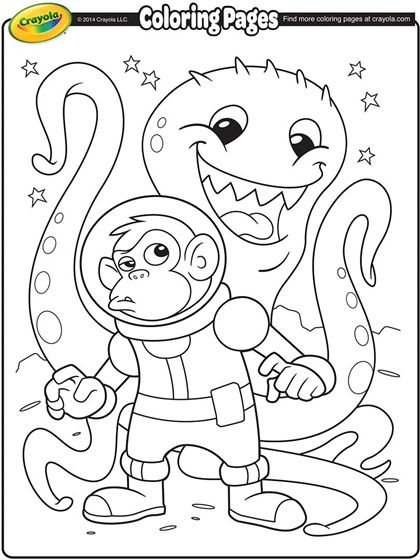 Space Alien And Monkey Astronaut On Crayola Com Space Coloring Pages Crayola Coloring Pages Free Coloring Pages