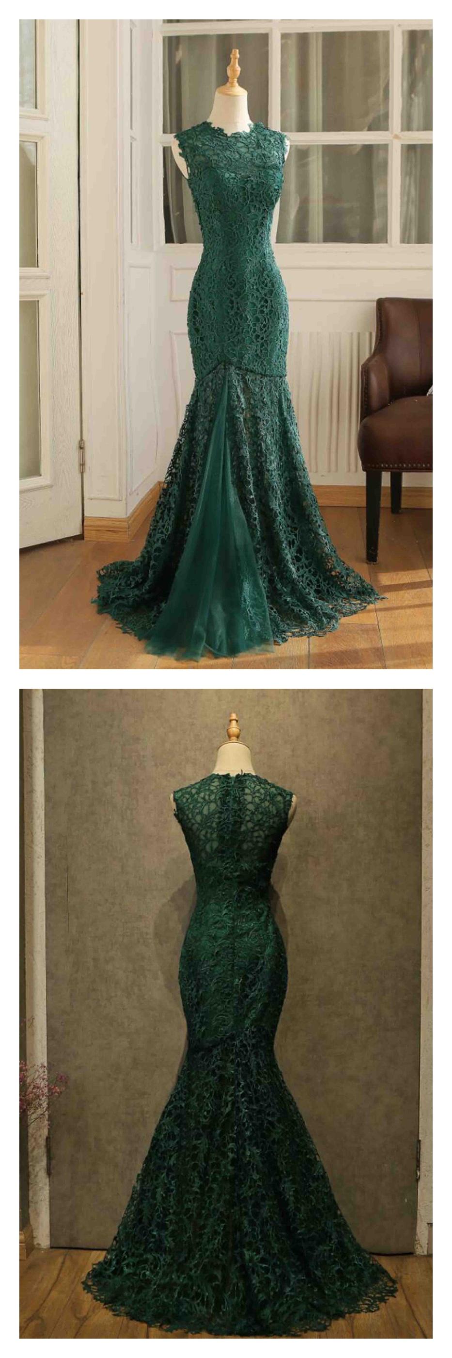 Dark green lace mermaid floor length prom dressesed dark