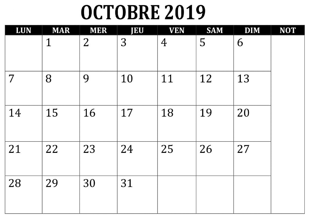 PDF Octobre Calendrier 2019 Periodic table
