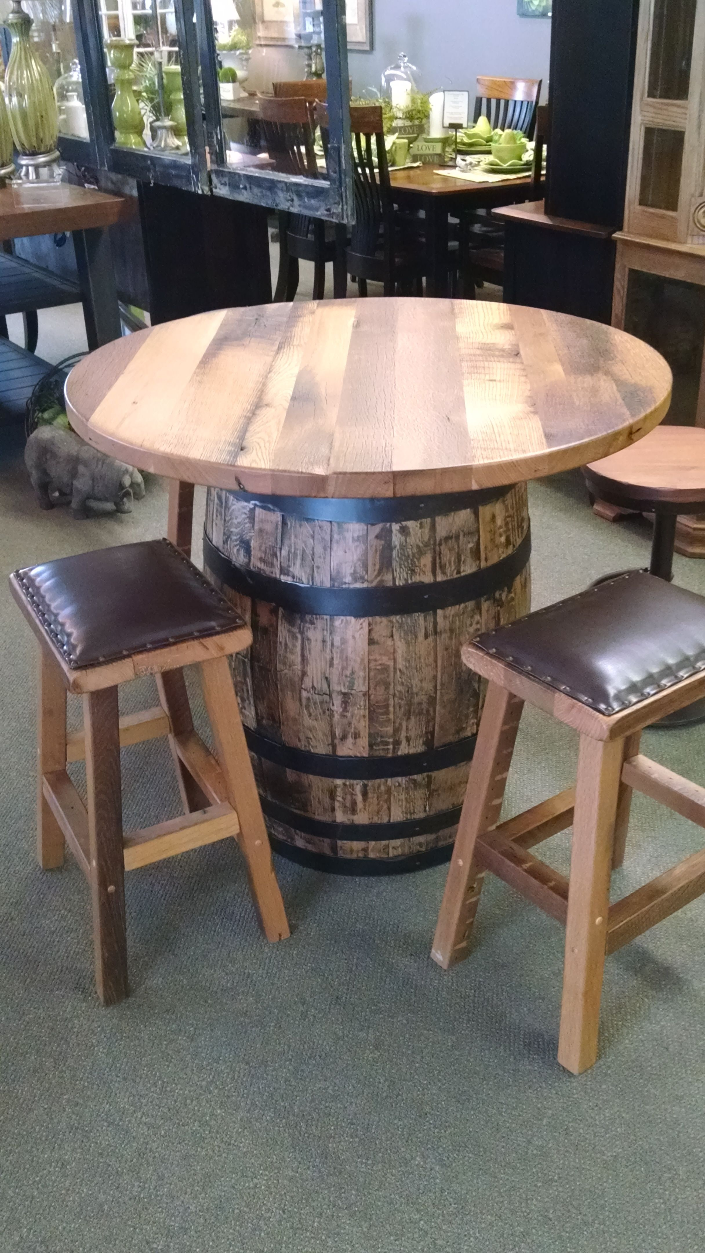 whiskey barrel pub table and chairs rocking chair crib combo custom made for the home pinterest