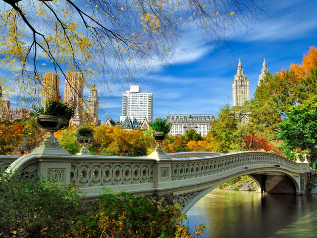 Обои Nyc, центральный парк, bow bridge. Города foto 19