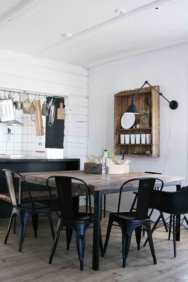 Rustic Black White Wood Pass Thru Tool Bar Fine DiningDining AreaDining Room DesignKitchen