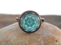 "Ring ""Green Mandala"" Yoga Chakra"