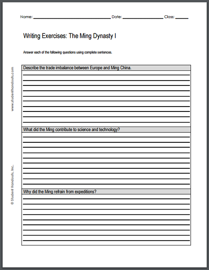 ming dynasty essay questions two printable worksheets each ming dynasty essay questions two printable worksheets each featuring three writing exercises