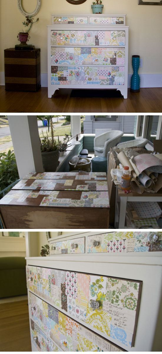 Scrap Paper Covered Chest of Drawers | DIY Home Decorating on a ...