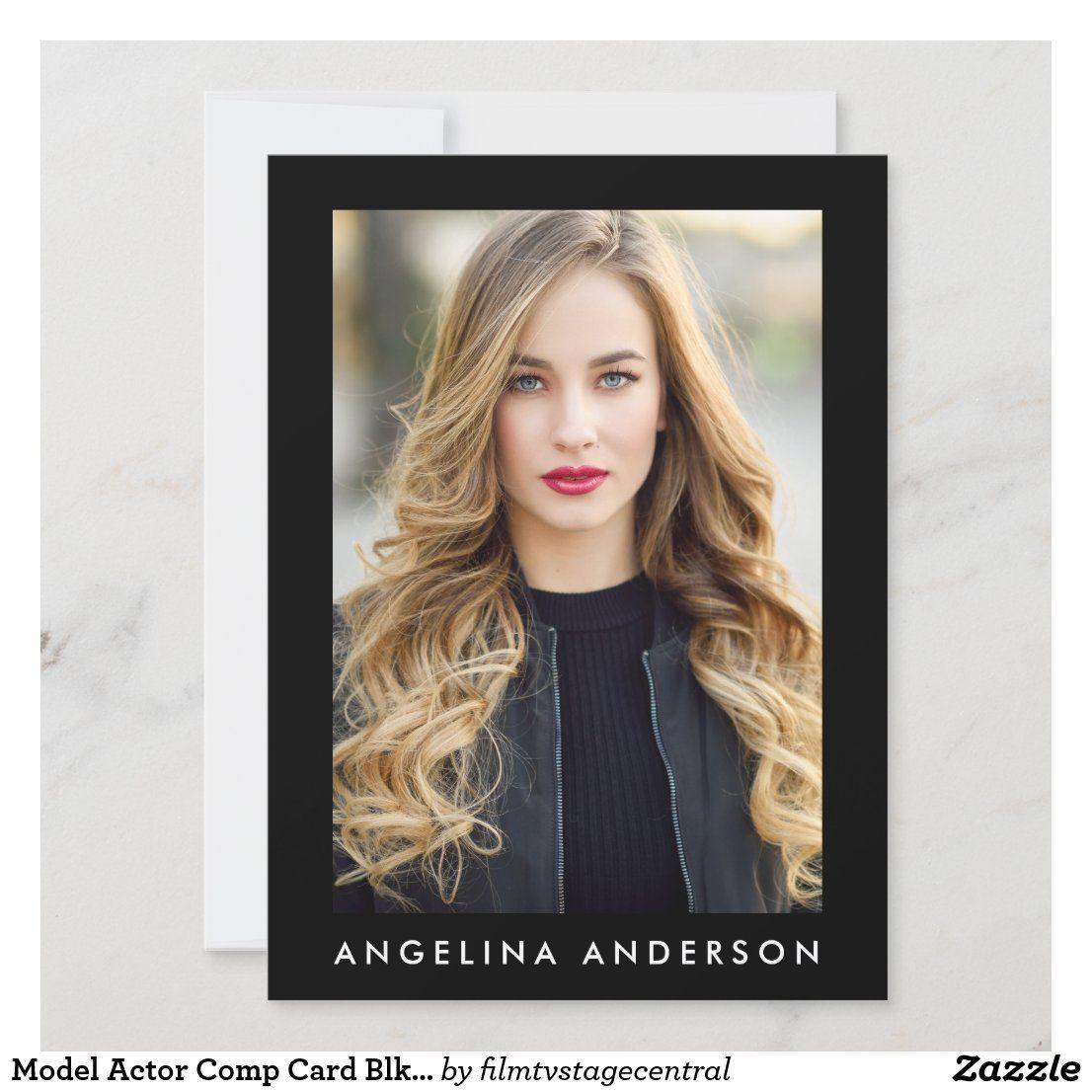 Model Actor Comp Card Blk 4 Photo Back Zazzle Com In 2020 Actor Photo Model Comp Card Model