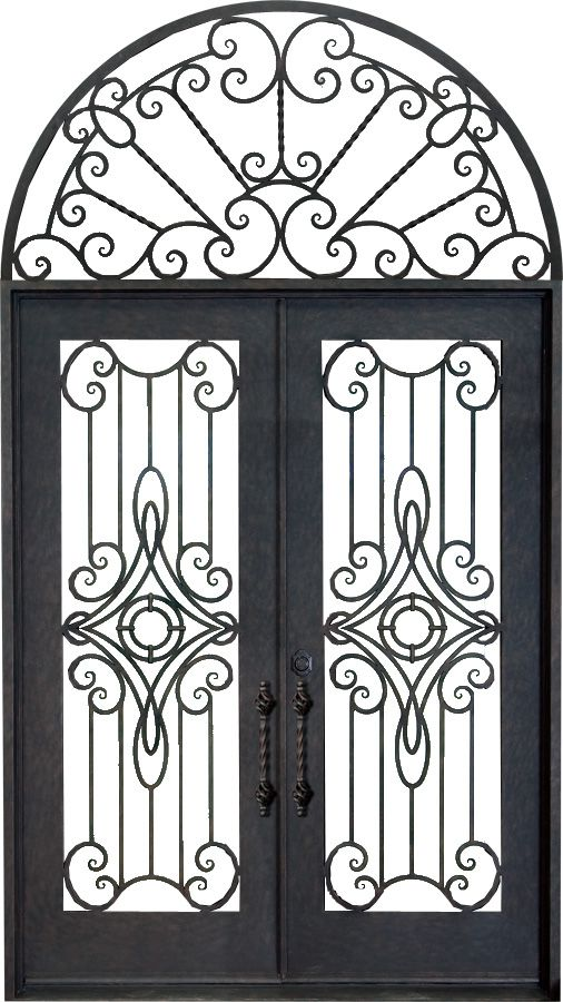 Double Wrought Iron Door With Swirl Centre Arched Top Feature Wrought Iron Doors Iron Doors Wrought Iron Wall Decor
