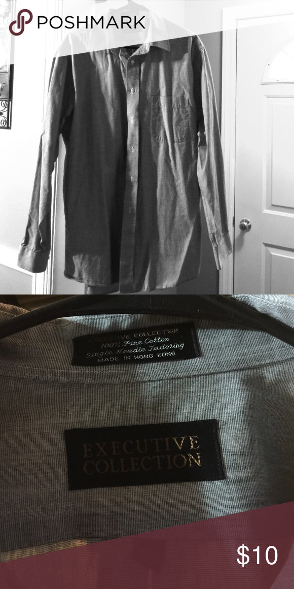 Gray long sleeve Button down dress shirt 18 inch neck. 34/35 Executive Collection Shirts Dress Shirts