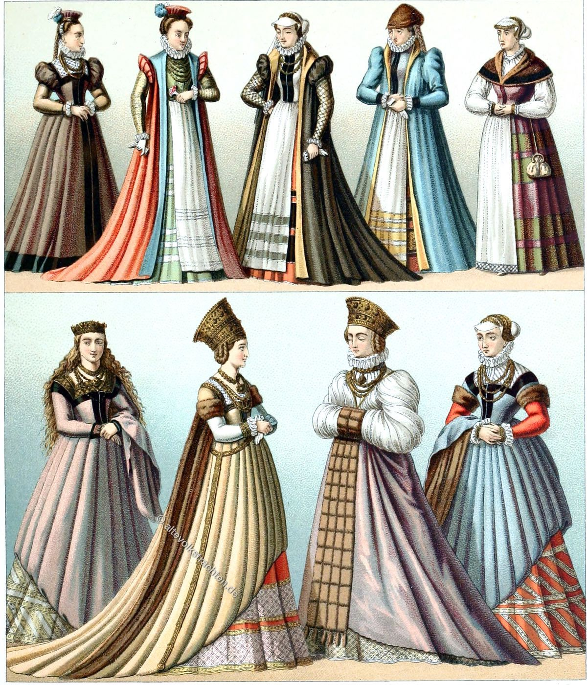 german women's fashion at the end of the renaissance. end of