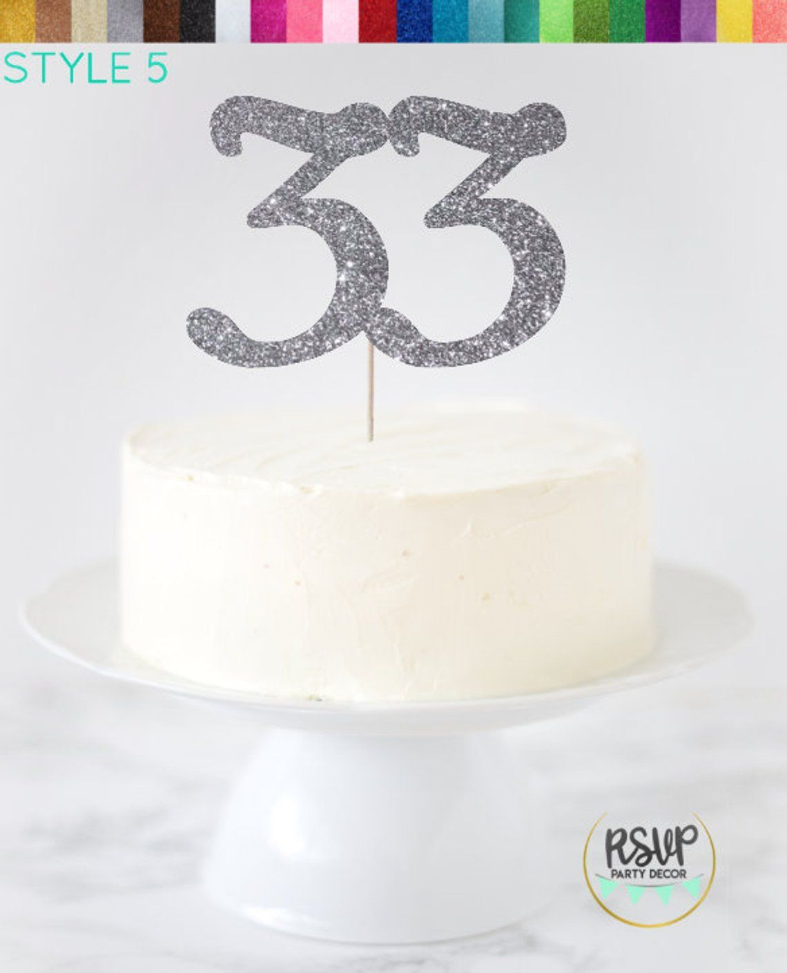 Thirty Three Cake Topper 33 Cake Topper Thirtythree Cake Topper