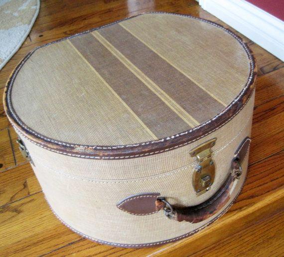 Round Tweed Suitcase - Striped 40's  Hat Box -  Home Decor Display Storage