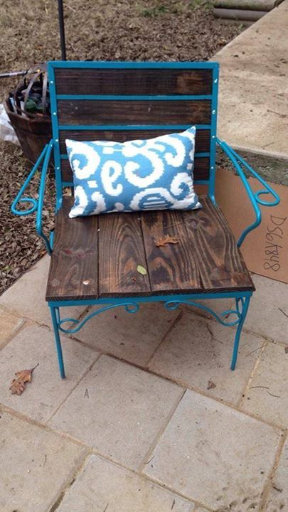 From Karla Old Metal Patio Chair Redone With Wood Planks Boho