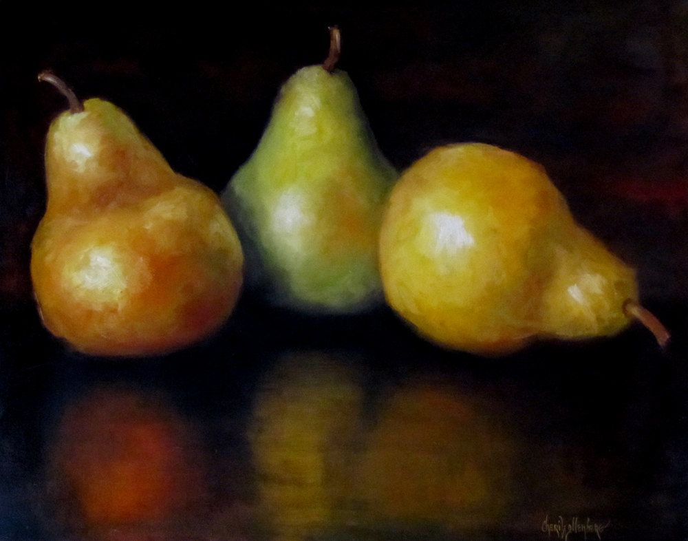 Pear Still Life Painting Kitchen Yellow And By OilPaintingsByCheri