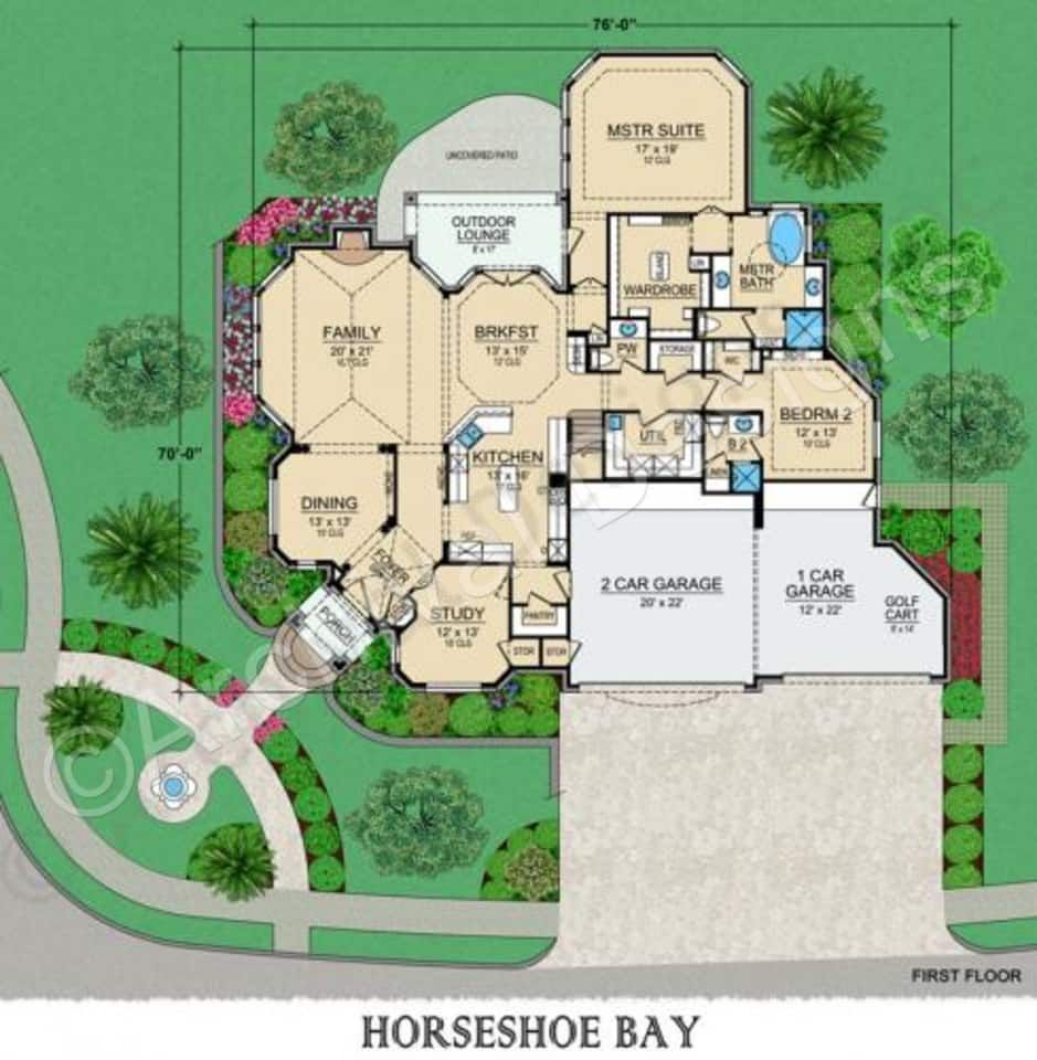 Horseshoe Bay House Plan Horseshoe Bay First Floor Luxury House Plans Retirement House Plans House Plans