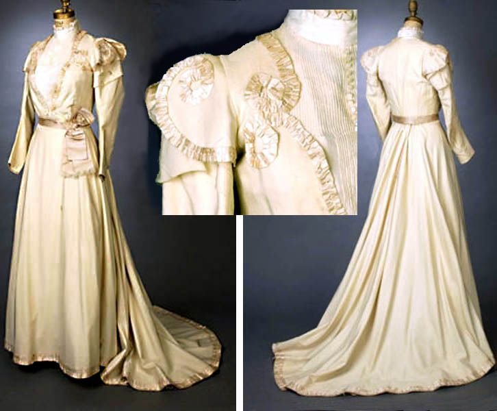 Wedding Dress, 1898. Two-piece Ensemble Comprises Fitted