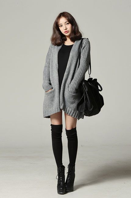 Cute winter to spring outfit with the black dress, huge ...