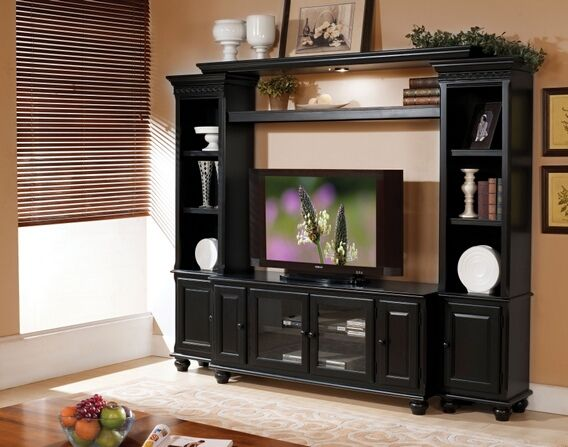 Black Entertainment Center Wall Unit 4 pc ferla black finish wood slim profile entertainment center