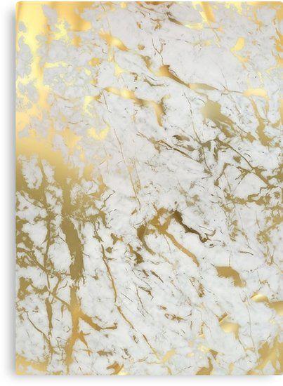 Gold Marble On White (original Height Quality Print) Canvas Print by MartaOlgaKlara