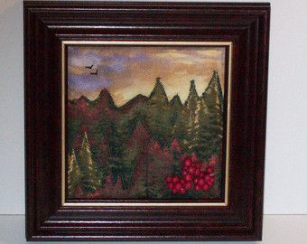 Art Quilt Forest Wall Hanging in Blues and Creams by djwquilts ... : framed quilt art - Adamdwight.com