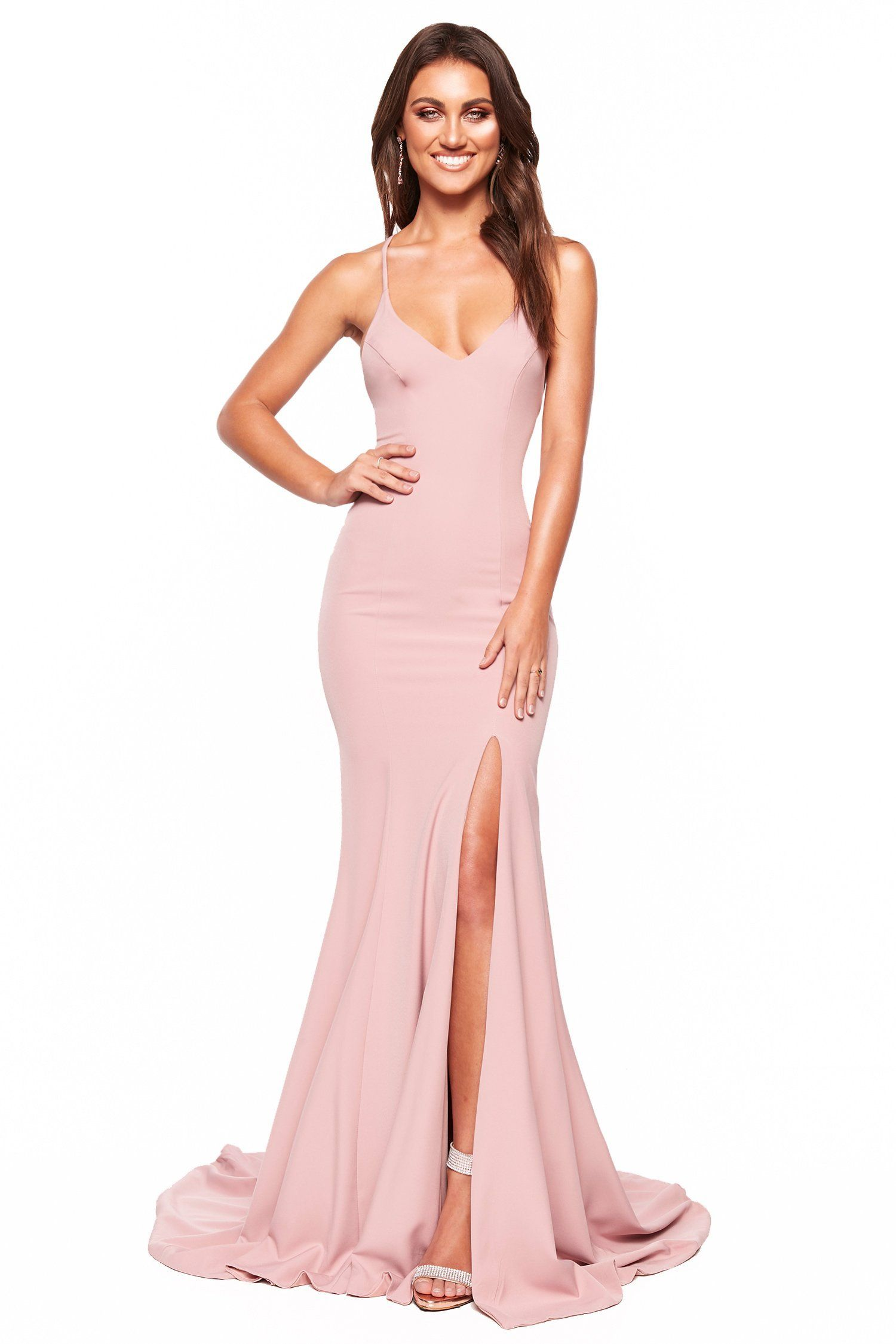 7f7bf153 A&N Luxe Emilie - Dusty Pink Gown with V-Neck, Lace-Up Back & Slit