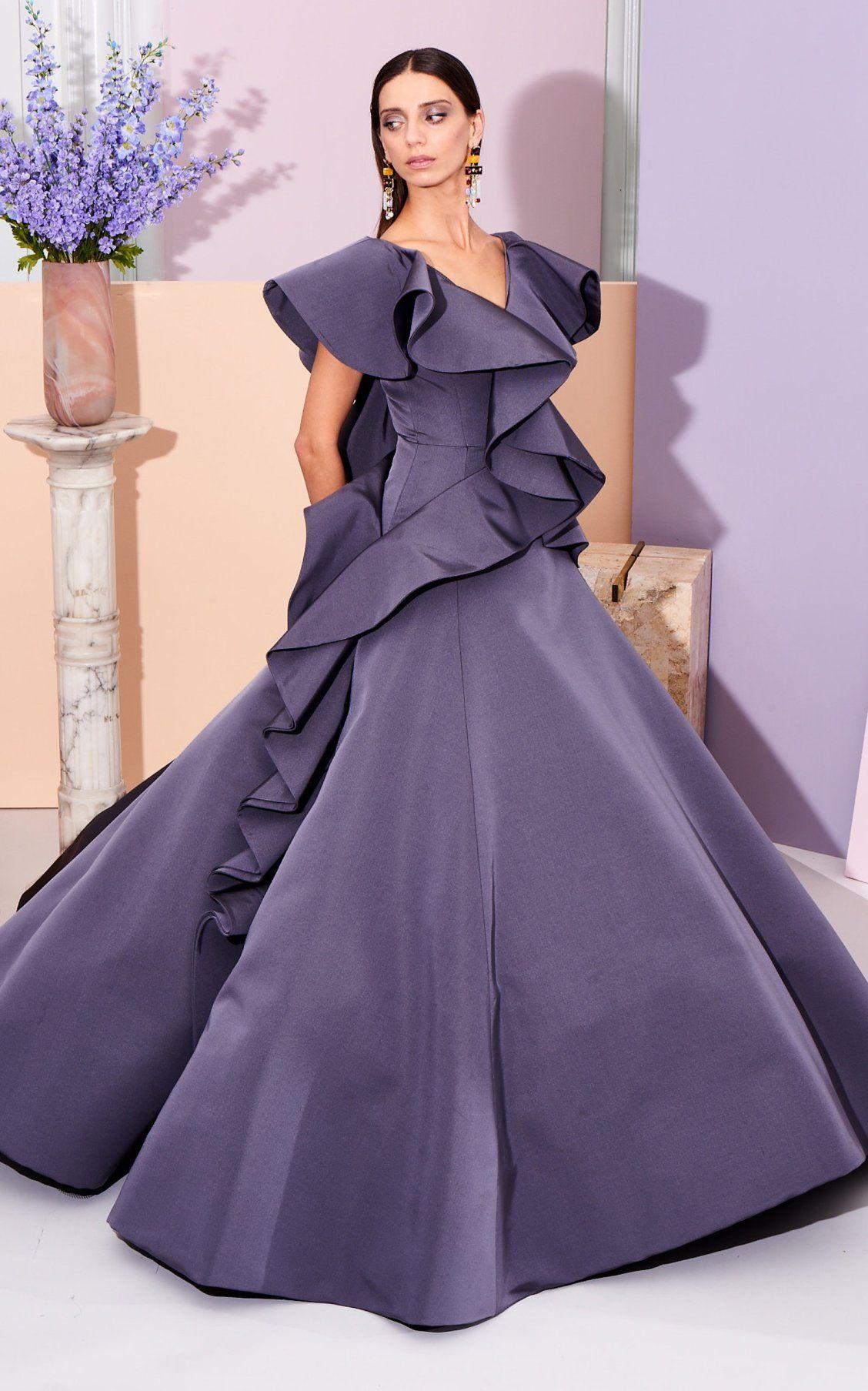 Ruffled Bodice Gown By Christian Siriano Pf19 Moda Operandi Couture Gowns Christian Siriano Dress Up
